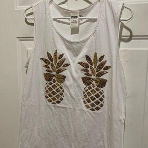 PINK Victoria's Secret Tops - PINK tank top white and gold